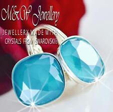 925 Silver Earrings Crystals From Swarovski® FANCY STONE 10mm - Azore Blue