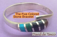 Taxco 925 Sterling Silver 5 Colored Stone Inlay Spring Loaded Mechanism Bracelet
