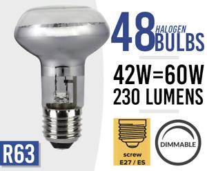 48x Dimmable Spot Light Bulb Halogen 240v 42W = 60Watt R63 E27 Bulbs BULK LOT 48