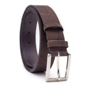 Men's brown belt handmade from eco-friendly cork leather