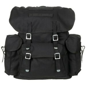 MFH® BW German Army Vintage Look Outdoor Buschraft CANVAS Backpack - Black 30L