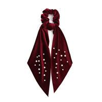 Fashion Velvet Pearls Elastic Scrunchie Bowknot Long Streamers Hair Bands Ties