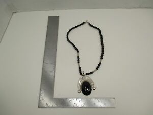 Vintage Sterling Silver Tuareg Berber Homemade African Necklace Onyx S3776