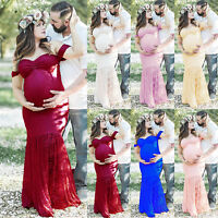 Women Pregnant Lace Off Shoulder Long Maxi Dress Maternity Photography Prop Gown
