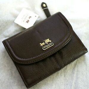 NWT COACH 46608 Madison Leather Medium Mahogany Brown FRENCH CLUTCH Wallet NEW