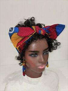 Hand made African print Cotton Wax Head Band Hair Wrap Scarf 008