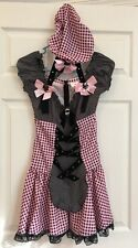 Womens Halloween Costume Mistress Peep with Hat XS 2-6 Pink and Black