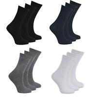Boys Girls Kids Plain Socks Ankle School Cotton Rich Children 3 Pack