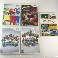 Wii Video Game Lot of 5 Play, Disney Sing It, Nerf Skylanders Tested Works