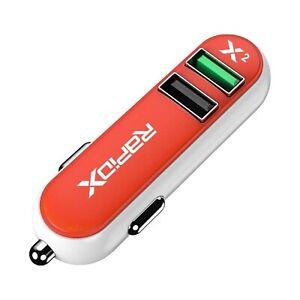 RapidX X2 Dual Port USB Fast Car Charger 2 Quick Charge Ports 2.4A Orange White