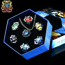 Anime Katekyo Hitman Reborn Metal Finger Rings Cosplay 7pc/box + Necklace Gift