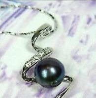 "Beautiful 8-9mm Black Akoya Cultured Pearl ""S"" Pendant Necklace / free shipping"