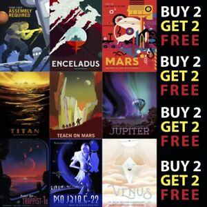 NASA RETRO SPACE TRAVEL POSTERS: Earth, Mars, Jupiter A4 A3 - 300gsm Paper/Card