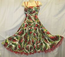 Perullo David Hart Dress Vtg 50s Rockabilly Tulle Red Green Xmas Swing Tea Party
