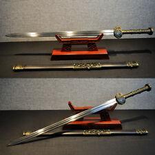 Long Heavy Chinese Sword Jian Damascus Steel Sharp Blade Full Tang Rosewood Saya