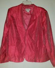TAN JAY Summer Jacket Shiny Pink 2. Pkts, fully lined, hook&eye closure size 16