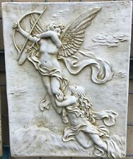 Flying Cupid with Girl Concrete Wall Plaque