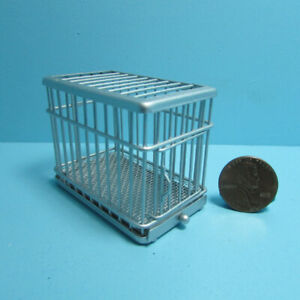 Dollhouse Miniature Small Metal Dog Animal Crate Cage in Silver EIWF463