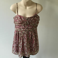 'MEI MEI'  VGC SIZE '14' PINK FLORAL  SHOESTRING LINED TOP WITH FRONT PLEATING
