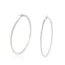 White Gold, 0.48 Tcw Sparkling Night Diamond All Around Hoop Earing 18K