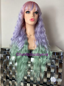 Pastel Rainbow wig ombré wavy with bangs 26 inch long heat ok
