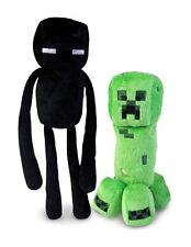 "Set of 2 Minecraft Stuffed Plush 7 1/2"" Creeper 9"" Enderman FREE FAST USA Ship"