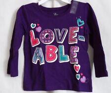 GIRLS 2T 24 MONTHS DEEP PURPLE LOVE-ABLE L/S SHIRT ~ THE CHILDREN'S PLACE