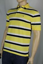 Tommy Hilfiger Yellow White Navy Blue Polo Shirt Stripes NWT Small S