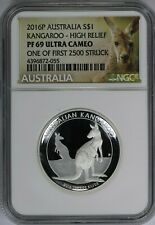 2016-P Australia S$1 Kangaroo High Relief Pf69 Ultra Cameo One of First 250