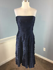ADRIANNA PAPELL NAVY BLUE TIERED A LINE FLARE STRAPLESS DRESS COCKTAIL PARTY 6 8