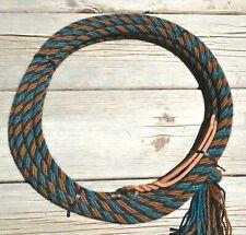 """3/8"""" Alpaca Hair Mecate Rope Reins 6 Str x 22 ft - Teal/Aqua, Brown, Black"""