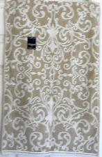 LUXURY TAHARI HOME FLEUR DE LIS SCROLL BEIGE WHITE 100% COTTON BATH TOWEL 2PCs