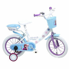 """14"""" Disney Frozen Kids Bike with Carry Basket & Stabilisers, Childrens Bicycle"""