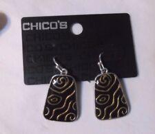 "Chico's Enamel & DANGLE Earrings  BLACK & Silver Tone  7/8""   NWT"