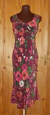 WHISTLES burgundy plum pink green floral PURE SILK wedding party dress 12 40