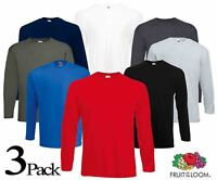 3 Pack Men's Fruit of the Loom Long Sleeve T Shirt Plain Tee Shirt Top Cotton