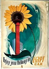 Original Vintage 50s Egyptian Airline Travel Poster Enjoy Your Holiday in Egypt