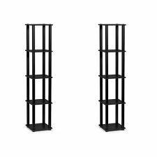 Furinno Turn-N-Tube 5 Tier Wooden Bedroom Corner Display Shelf, Black (2 Pack)