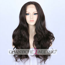 """Long Dark Brown Wavy Synthetic Lace Front Wigs Natural Brown Synthetic Wigs 20"""""""
