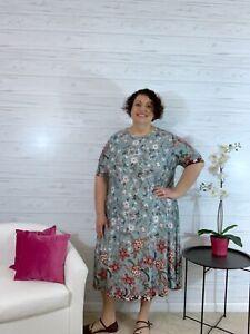 Carla blue burgundy floral short sleeve dress