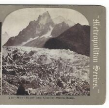 Mont Blanc and Glacier, Switzerland, Original Circa 1900 Stereoview Card