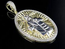 Men's 10K Two-Tone Gold Jesus Medallion Genuine Diamonds Pendant Charm 0.75 Ct