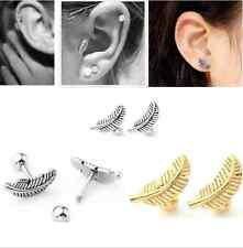 1Pair Novel Titanium Steel Feather Piercing Barbell Tragus Ear Stud Earrings
