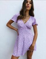 MOTEL ROCKS Elara Dress in Ditsy Rose Lilac Medium M  (mr87)