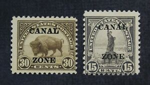 CKStamps: US Stamps Collection Canal Zone Scott#78 79 Mint H OG