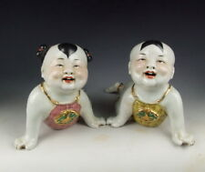 Pair of Chinese Antique Gilt Famile Rose Porcelain Boy and Girl