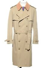 44R Vintage Khaki Tan Removable Wool Collar Double Breasted Trench Coat Rain XL