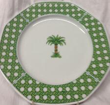 "VILLEROY & BOCH HEINRICH CARIBIC DINNER PLATE 10"" PALM TREE GREEN BASKET WEAVE"