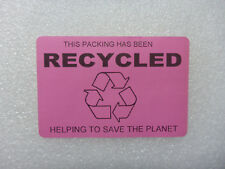 50x This PACKING has been RECYCLED Labels mm 76mm x 51mm Sticker save waste PINK