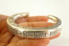 Thai Hill Tribal Motif No Stone 925 Sterling Silver Cuff Bangle Bracelet